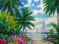 Watercolor Painting Tropical Nature Ocean Beach Palm Tree Sailboat ACEO Art