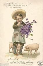 Geburtstag, Kind mit Blumen & Schwein, Pork, Vergismeinnicht, Litho-Ak von 1905
