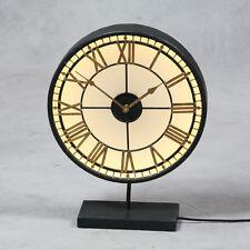 "Antiqued Negro y Oro Cristal Back Lit ""Westminster"" Reloj en Stand 52cm De Alto"