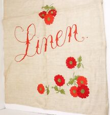 New listing Vintage Drawstring Linen Bag Embroidered with Linen Text Poppies Flowers 32x18.5