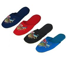 Embroidered Peacock Chinese Women's Cotton Slippers Blue Red Black Turquoise New