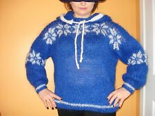 Blue Hand Knitted Mohair Sweater Icelandic Hoodie Pullover  M L XL