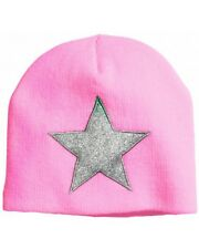 Warm bright pink knit beanie cap hat girl silver star winter size 1 1/2- 4 years