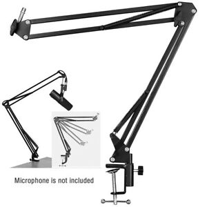 Microphone Stand, Adjustable Microphone Suspension Boom Scissor Arm Mic Stand