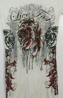 Crash & Burn White Short Sleeve Shirt Top Size XS