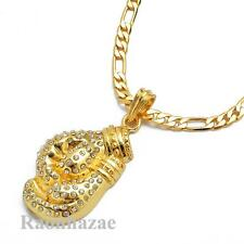 "ICED OUT 14K GOLD PT. BOXING GLOVE PENDANT 5mm 24"" FIGARO CHAIN NECKLACE K7273G"