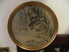 ancienne peinture chinoise sur soie encadrement rond bois doré or