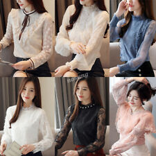 Korean Women Lace Slim Mock Neck Ruffle Party Cocktail Formal Blouse Top T-shirt