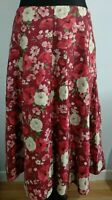 Laura Ashley Ditsy Floral Red White Cotton Skirt BNWT Boho Ethnic 14 Cottagecore