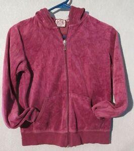 W5146 Juicy Couture Juniors Medium Maroon Long Sleeve Zip Up Hoodie