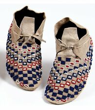 1910s Pair Native American Cheyenne Indian Bead Decorated Hide Moccasins Beaded