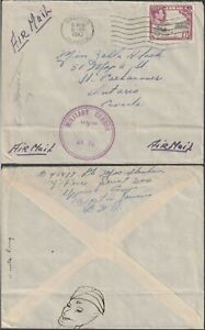 Jamaica to Canada UP PARK CAMP Y FORCE George VI 6d  Censor 10 A Company 1943