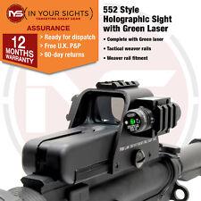 Mira Holográfica estilo 552 & Verde Laser Vista Rifle/Airsoft con los carriles Weaver