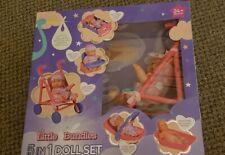 Baby Doll Little Bundles Toy Set 5 in 1 Pram Stroller Cot Car Seat Girls Bath