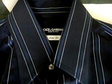 D&G Dolce & Gabbana Mens Cotton Dark Blue Slim Fit Shirt Sz 16 41