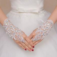 New Lace white/ivory Fingerless Short Paragraph Rhinestone Bridal Wedding Gloves