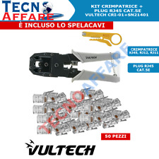 Kit Pinza Crimpatrice + 50 pezzi Connettori Plug RJ45 Vultech