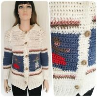 CUTE ORIGINAL VINTAGE CHUNKY CROCHET CARDIGAN KITSCH QUIRKY DESIGN SIZE 8 10