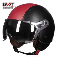 Vintage Motorcycle Helmet Open Face Half Helmet Deluxe Leather Scooter Chopper