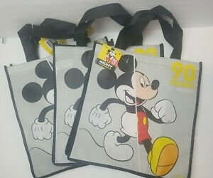 3 x Disney Mickey Mouse 90 year anniversary Reusable Shopping Bag  Gift Tote