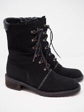 Stuart Weitzman Womens Lace Up Ankle Velvet Combat Boots Black Size 8.5 B