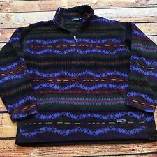 VTG PATAGONIA XL Fleece Jacket 1/2 Zip PULLOVER All Over AZTEC TRIBAL Print Snap