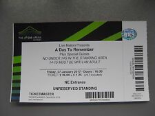 A DAY TO REMEMBER  LONDON  27/01/2017 TICKET