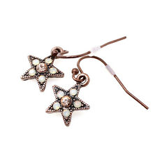 PILGRIM Earrings STAR Charm Copper Dusty Pink Opal Swarovski Crystal New NO TAG!