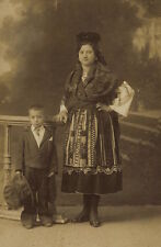 MOTHER AND SON POSE FOR PORTRAIT IN PORTO, PORTUGAL -MOM IN TRADITIONAL CLOTHING