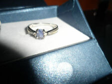 9K GENUINE TANZANITE & DIAMOND WHITE GOLD RING ~ BEAUTIFUL RING