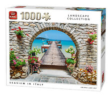 1000 Piece Landscape Jigsaw Puzzle Sea-View In Italy Ocean Pier & Flowers 05710
