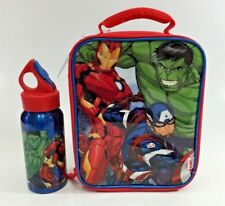 MARVEL AVENGERS INSULATED KIDS SCHOOL SLIMLINE LUNCH BAG & DRINK BOTTLE