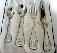 BABY KEEPSAKE STAINLESS STEEL TEDDY BEAR DESIGN CUTLERY SET IN SILVER GIFT BOX