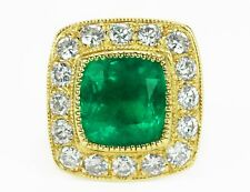 Colombian Emerald & Diamond Cocktail Ring 14k