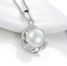925 STERLING SILVER 9MM FRESHWATER CULTURED PEARL FLOWER NECKLACE PENDANT PE1