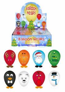 8 CHRISTMAS BALLOON HEADS FESTIVE STICKER CRAFT ACTIVITY SANTA PARTY BAG FILLERS