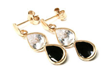 9ct Gold Black Onyx and CZ Drop Earrings Made in UK Gift Boxed Birthday Gift
