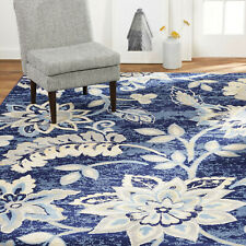 Contemporary Transitional Modern Floral Blue Area Rug