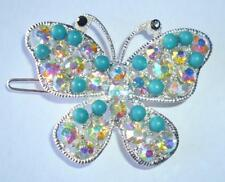 New Teal Green Butterfly Hair Clip Rhinestone Crystal Beads Barrette Wedding