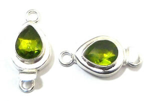 1 PC TEARDROP PERIDOT BOX CLASP 1 STRAND STERLING SILVER PLATED 750 HSE-341