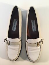 Etienne Aigner Carver Two Tone White / Ivory Leather Side Buckle Loafers Sz 8B