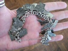 Souvenir Sterling Silver State & Canada Travel Charm Bracelet Loaded w 40 Charms