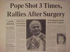 VINTAGE NEWSPAPER HEADLINE ~CRIME POPE JOHN PAUL II GUN SHOT ASSASSIN ARRESTED~