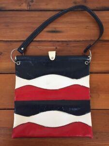 "Vtg 70s Wavy Red White Blue Striped Faux Vegan Leather Handbag Purse Tote 12"""