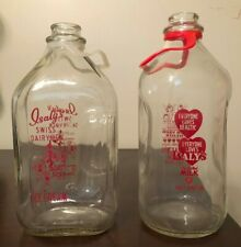 """Set of 2 Isaly's Half Gallon Glass Pyro Milk Bottles """"For Your Health"""""""