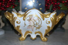 OLD CONTINENTAL ROCOCO ANGEL DECORATED WHITE & GOLD HANDLED CABINET CENTERPIECE