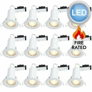 Set of 12 x Gloss White LED GU10 Fixed Fire Rated Downlights Including Bulbs