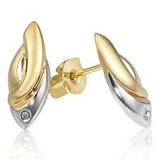 Goldmaid Ohrstecker Fisch 375 Gold Bicolor 2 Diamanten 0,01 ct. Ohrringe