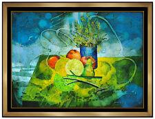 Yankel Ginzburg Original Oil PAINTING On Canvas Signed Still Life Flowers Art