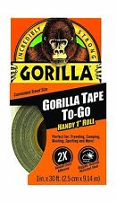 """Gorilla Duct Tape To-Go 1"""" x 30 ft Black 1 Pack - NEW FREE SHIPPING"""